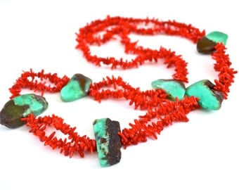 Red Coral, Chunky Chrysoprase Slabs Long Necklace