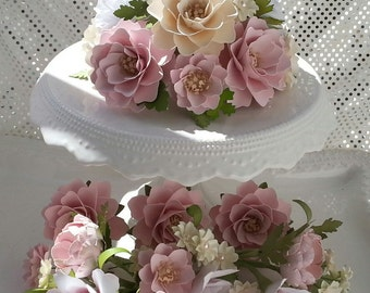 Cake Flowers - Flower Wedding Cake - Paper Flowers - Cake Flowers - Cake Topper and Mini Stemmed Cluster Set -  Customized