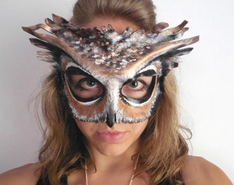 leather owl mask black white or brown owl adult or child sizes masquerade - Halloween Costumes With A Masquerade Mask