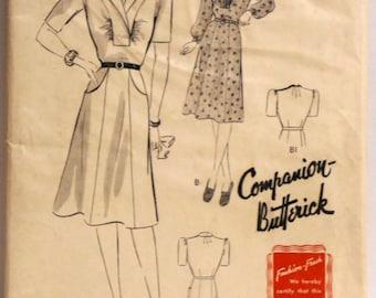 1940's Butterick Pattern #1366, Size 16, Bust 34  - uncut