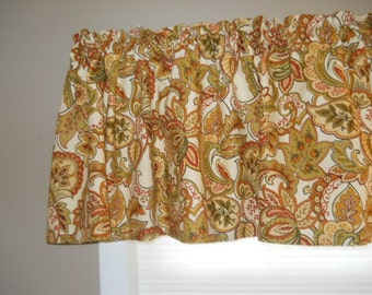 Gold green rust and red floral valance Mill Creek Fabric