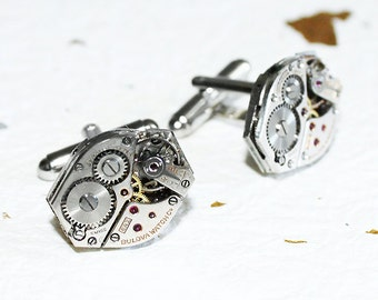 Wedding Gift Men - BULOVA Men Steampunk Cufflinks - Matching Vintage Watch Movement Steampunk Cufflinks Watch Cufflinks Wedding Gift