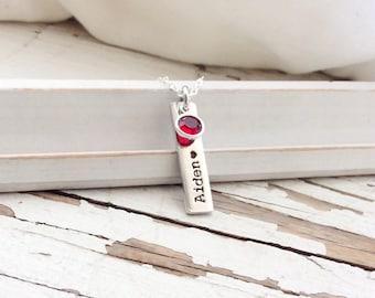 Custom Hand Stamped Mothers Necklace Children's Names Birth Stones Birthstones new Mom gift baby shower motherhood pendant swarovski mommy