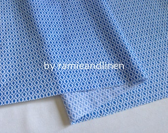 "fine cotton fabric, blue pattern print cotton fabric, half yard by 58"" wide"