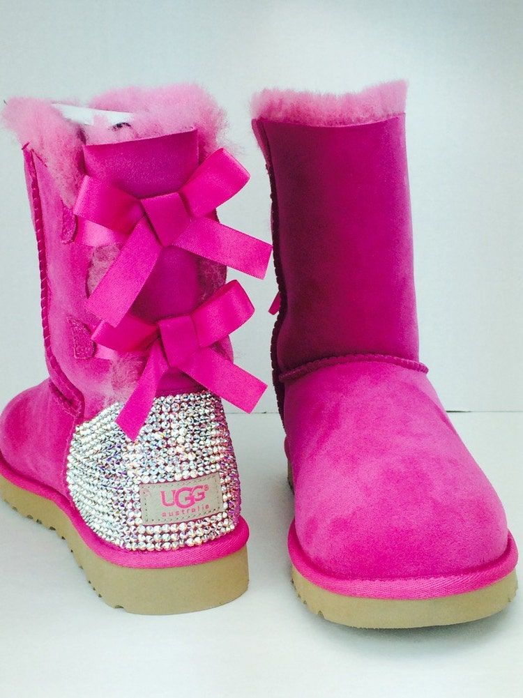 custom ugg boots made with swarovski bailey bow by theilllines