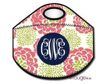 PEONY monogrammed lunch tote - with customizable pattern and monogram