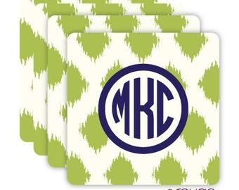 IKAT coasters with custom monogram - set of 4