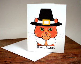 Pilgrim Cat card, Thanksgiving card, tiger cat, marmalade cat, Howdy Pilgrim, pilgrim hat, pilgrim collar, note, greeting, blank, chat, gato
