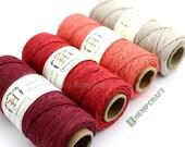 Hemp Twine, 4 Spools, Shades of Red, 1mm Hemp Craft Color Cord Combo