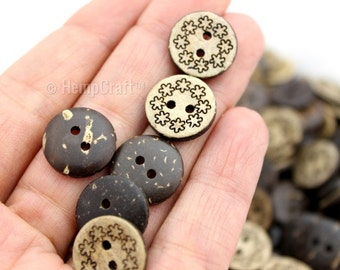 Coconut Buttons Beads, 50pc 15mm Round, Flower Back Natural Coconut 2 Holed Button Beads