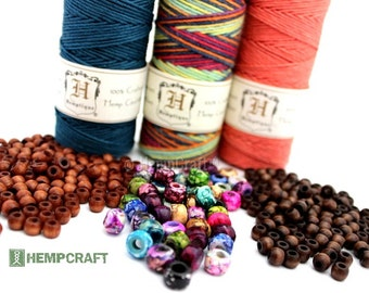 Hemp and Beads Combo, Hemp Cord and Wood and Glass Beads Jewelry Making Kit, Choose Your Colors