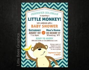 Monkey Invitation, Printable Baby Shower Invite with Chevron print -- Zoo, Jungle, Safari Invites, Any Color