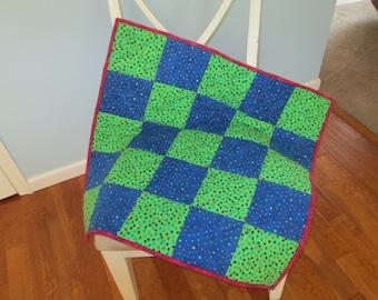 Green Blue Dots Stars Flannel Crib Quilt