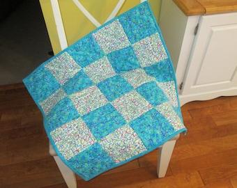 Blue White Swirl Flannel Crib Quilt