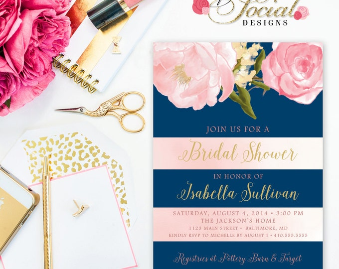Peony Bridal Shower Invitation - Romantic Garden Peonies Peony Floral Flowers Navy Stripes Blush Pink Bridal Shower Invitation Printable