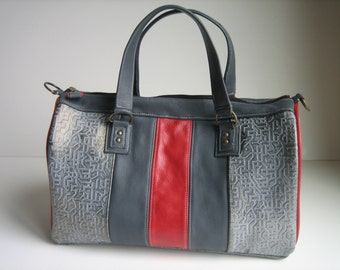 Gray & Red Leather Doctor's Bag