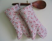 A Pair of Sustainable, Red Country Cottage Garden Long Oven Gloves