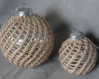 Pair of Hand Knit Chistmas Ball Globe Ornaments in Sparkling Light Gold with Silvertone Hangers