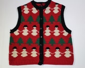 Vintage Ugly Christmas Sweater - Christmas Sweater Vest - Red Vest - Xmas - Christmas Party - Snowman - Wool - Small -Army of Snowmen