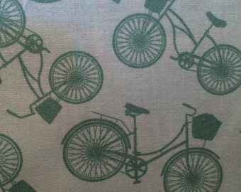 Turquoise Bikes- cotton quilting Fabric - BTY