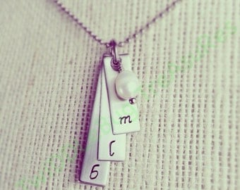 Initial Necklace - Mommy Necklace - Mommy Jewelry - Mother - Mother's Day - Hand Stamped - Stainless Steel