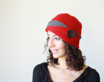 Womens knit hat, Lucy Hat, Womens beanie, Red Winter beanie for women, Knit beanie hat, Red Winter hat, Red Womens hat, Red hat