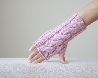Dusty pink Women fingerless gloves, pink fingerless gloves, Knit mittens women, pink gloves fingerless, Pink knitted mittens, Women gloves