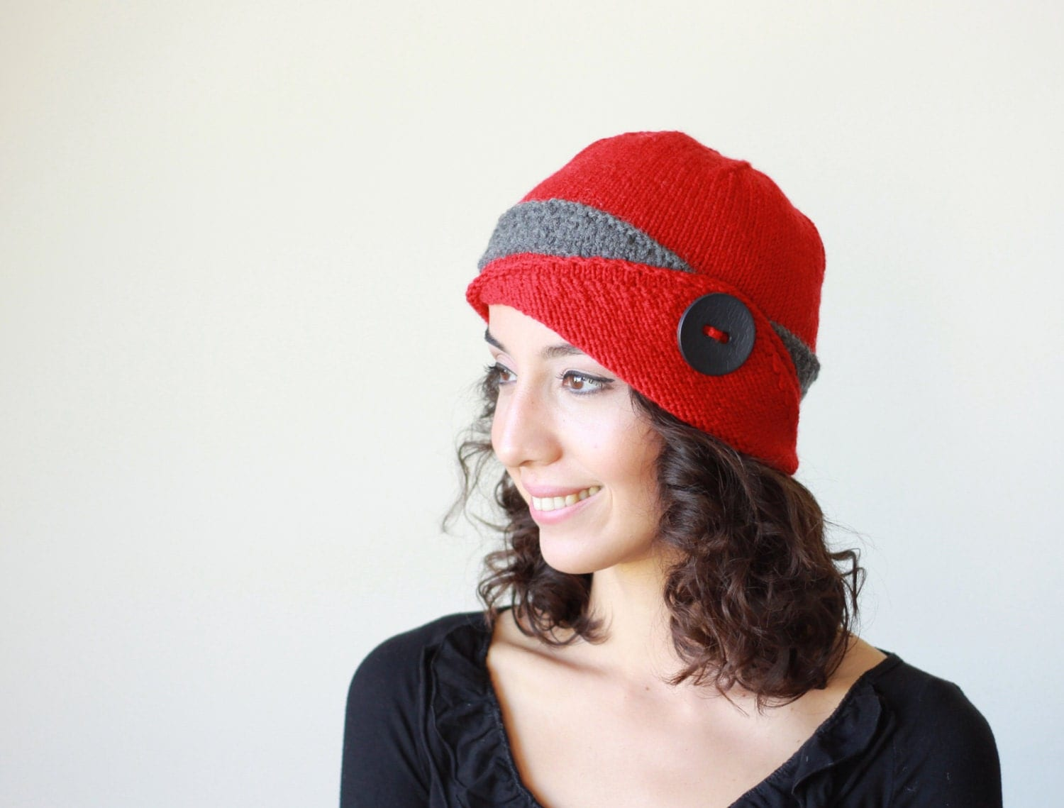 Womens knit hat Lucy Hat Womens beanie Red Winter beanie