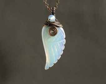 Angel wing necklace, Opalite fairy necklace, white glass pendant, copper rustic jewelry, pretty birthday gift for her