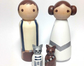 The Princesss & her Nerfherder PLUS 2 Pets Star Wars (R) Wood Peg Doll Cake Topper