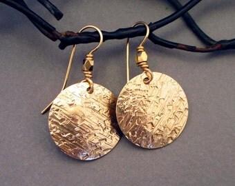 Gold Disc Earrings Hammered Brass Earrings Greek Jewelry Artisan Handmade Modern Tribal Jewelry Round Dangle Earrings Textured Metal Jewelry