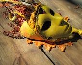 Autumn goddess, Masquerade Mask, Halloween mask, Yellow orange and black, Masked gala, Masked ball, Costume mask