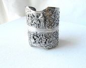 Repurposed Silver Plated Vintage Comb Case Bangle Bracelet US Shipping Included in Price