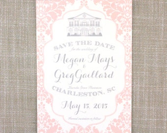 Plantation Sketch Save the Date - Blush, Gray, and Damask