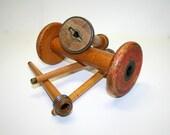 Wood Spools, Primitive Wooden Decor, Industrial Wooden Spools, Thread Spools Wooden Vintage