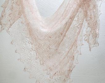 WOOL Lace Shawl ,CROCHETED Russian Handmade, Goat Wool Neck Scarf, Beige Warm Winter Neckwear