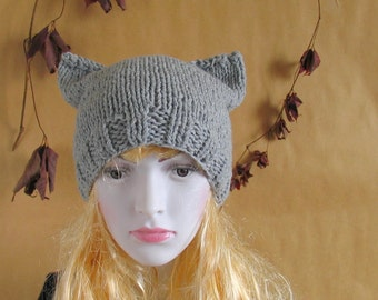 Womens Hat Knit Hat Cat Ears Women Hat Cat Beanie Chunky Knit Winter Accessories GREY Cat Animals Hat cat ears hat