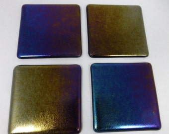 Fused Glass Coasters with Iridescent Black Design - set of 4