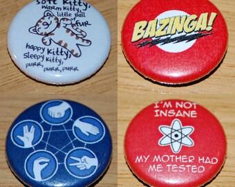 Big Bang Theory Set 25mm / 1 inch Button Badge Sheldon Leonard Penny Bazinga