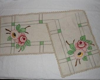 Vintage Tinted &  Embroidered  Ecru Linen Dresser Scarf