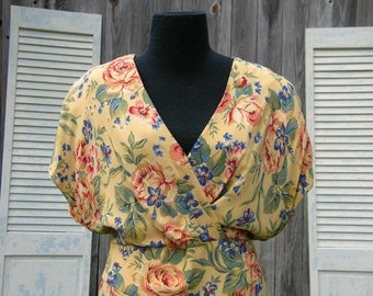 Vintage Yellow Floral Rayon Garden Party Dress