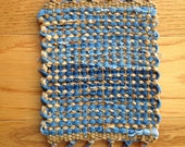 Handwoven Coasters in Upcycled Denim and Chenille Yarn