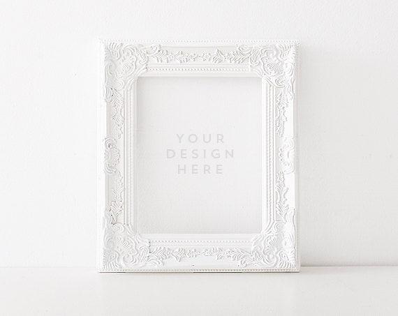 plain jane white frame stock photography product frame mockup frame mock up wall art display template - White Frame