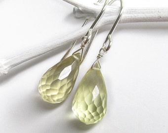 Simple Lemon Quartz Earrings, Yellow Drop Earrings, Sterling Silver Dangle, Citrine Jewelry