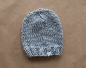 Super Chunky Knit Wool Blend Ladies Beanie Hat - Light Grey - Made to order