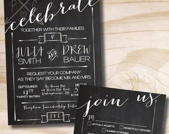 CELEBRATE Chalkboard Poster Wedding Invitation and Response Card Invitation Suite