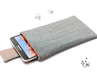 Galaxy Note 5, 4, Edge, 3 sleeve case cover pouch handmade with magnetic closure light jeans and gray