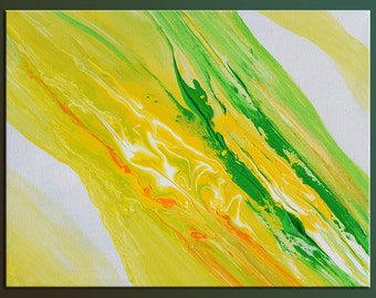 Abstract Contemporary Modern Painting Acrylic on canvas colorful handmade unique wall art yellow green bright orange ready to hang by Milen