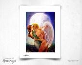 SALE - Good Night Kiss - 8x11 Print - sweet kisses - angel - lady - moon