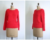 cherry red Valentine's Day ladies sweater - vintage 80s boucle / Tally Ho - 1980s preppy / crew neck pullover
